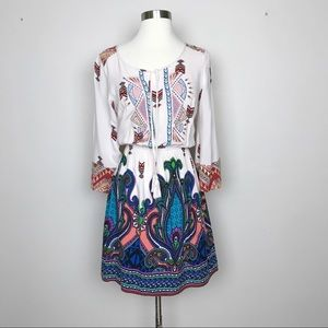Flying Tomato White Dress Embroidered Bodice Sz M